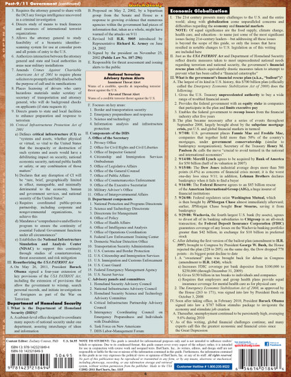 QuickStudy Quick Study U.S. Government Laminated Study Guide BarCharts Publishing Political Science Back Image