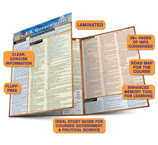 QuickStudy Quick Study U.S. Government Laminated Study Guide BarCharts Publishing Political Science Guide Benefits