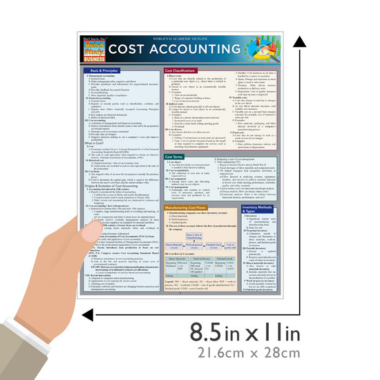 Quick Study QuickStudy Cost Accounting Laminated Study Guide BarCharts Publishing Business Guide Size