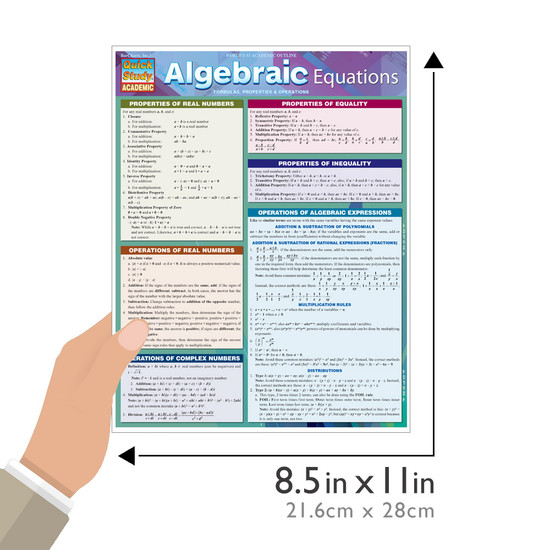 Quick Study QuickStudy Algebraic Equations Laminated Study Guide BarCharts Publishing Algebra Guide Size