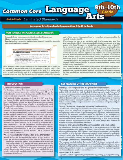 QuickStudy Common Core: Language Arts 9th & 10th Grade Laminated Study Guide