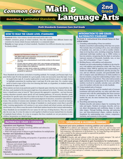 QuickStudy | Common Core: Math & Language Arts - 2nd Grade Laminated Study Guide