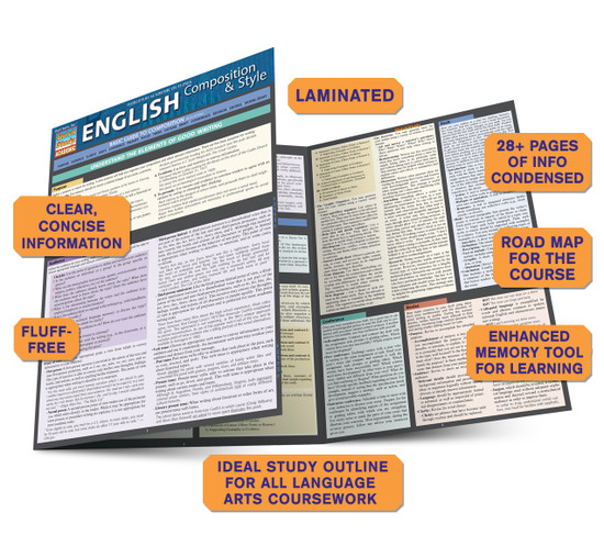 Quick Study QuickStudy English Composition & Style Laminated Study Guide BarCharts Publishing Academic Guide Benefits