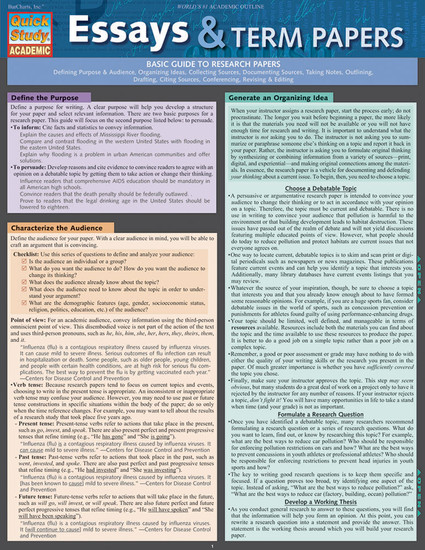 QuickStudy Quick Study Essay & Term Papers Study Guide BarCharts Publishing Language Arts Education Guide Cover Image