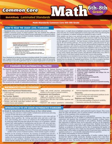 QuickStudy   Common Core: Math 6th - 8th Grade Laminated Study Guide
