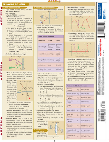 Quick Study QuickStudy Physics Laminated Study Guide BarCharts Publishing Physics Reference Guide Back Image