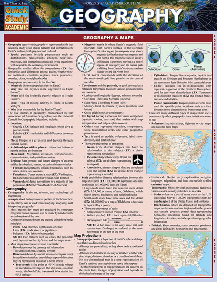 Quick Study QuickStudy Geography Laminated Study Guide BarCharts Publishing Science Edu Study Guide Cover Image