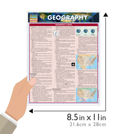 Quick Study QuickStudy Geography Laminated Study Guide BarCharts Publishing Science Edu Study Guide Size