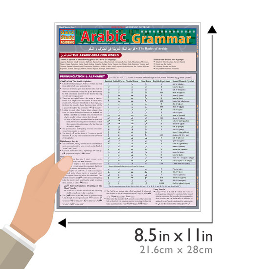 QuickStudy Quick Study Arabic Grammar Laminated Study Guide BarCharts Publishing Foreign Languages Guide Size