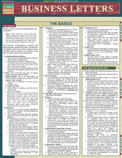 Quick Study QuickStudy Business Letters Laminated Reference Guide BarCharts Publishing Career Education Guide Cover Image