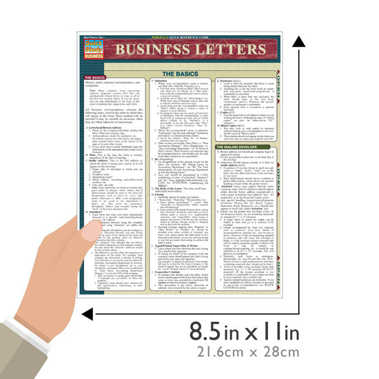 Quick Study QuickStudy Business Letters Laminated Reference Guide BarCharts Publishing Career Education Guide Size