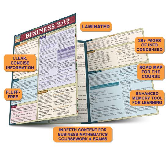 Quick Study QuickStudy Business Math Formulas Laminated Study Guide BarCharts Publishing Math Guide Benefits