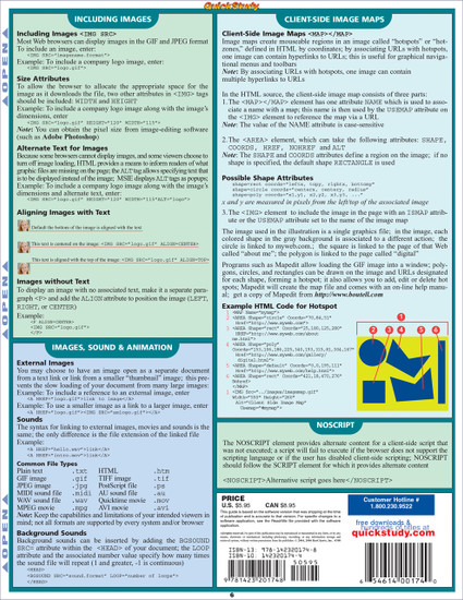 Quick Study QuickStudy HTML Guide Laminated Reference Guide BarCharts Publishing Computer Guide Back Image