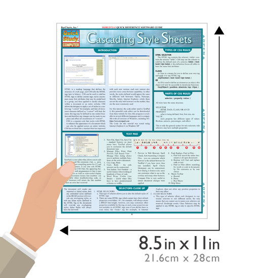 Quick Study QuickStudy Cascading Style Sheets Laminated Reference Guide BarCharts Publishing Computer Education Guide Size