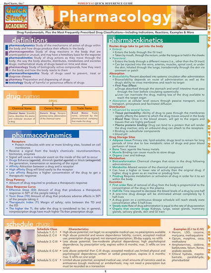 QuickStudy Quick Study Pharmacology Laminated Study Guide BarCharts Publishing Medical Study Guide Cove Image