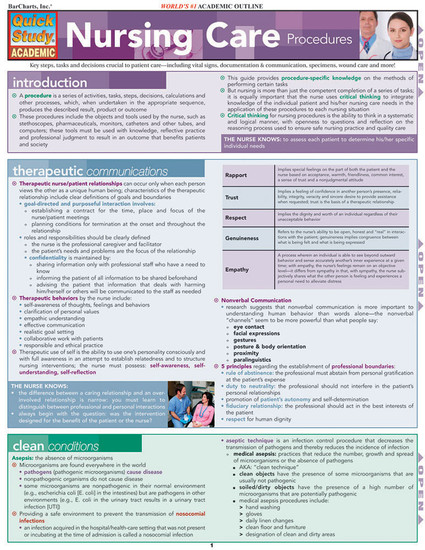 Quick Study QuickStudy Nursing Care Procedures Laminated Study Guide BarCharts Publishing Medical Education Guide Cover Image