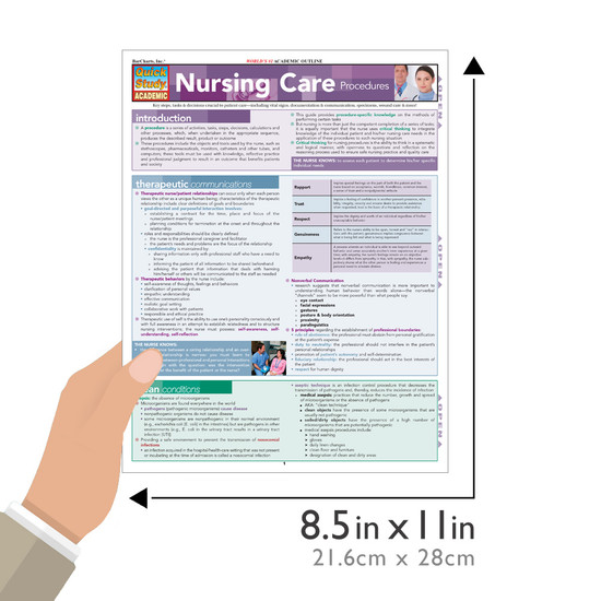 Quick Study QuickStudy Nursing Care Procedures Laminated Study Guide BarCharts Publishing Medical Education Guide Size