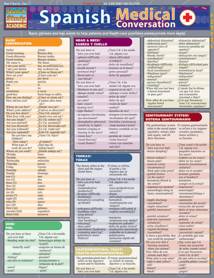 QuickStudy | Spanish Medical Conversation Laminated Study Guide