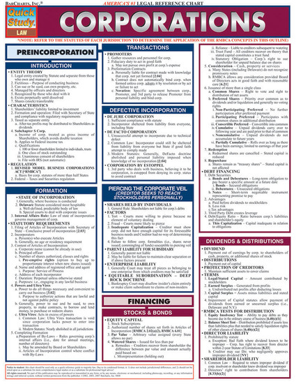 QuickStudy   Corporations Laminated Reference Guide