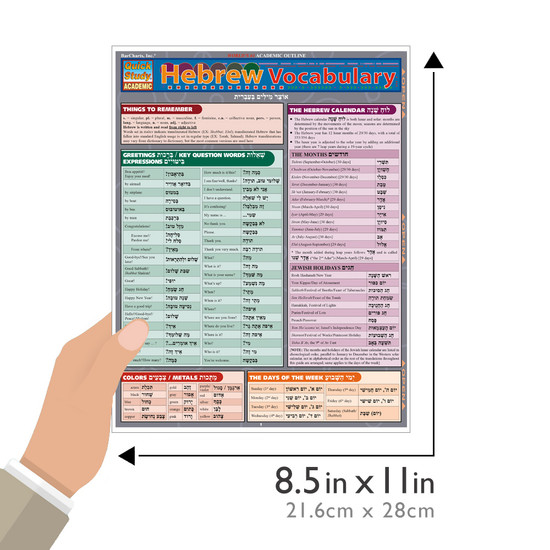 Quick Study QuickStudy Hebrew Vocabulary Laminated Study Guide BarCharts Publishing Foreign Language Guide Size