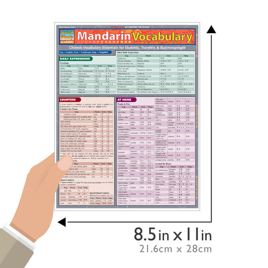 Quick Study QuickStudy Mandarin Vocabulary Laminated Study Guide BarCharts Publishing Mandarin Vocab Guide Size