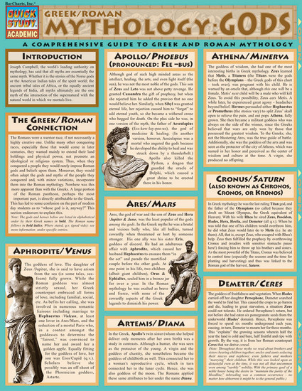 QuickStudy | Mythology: Greek/Roman Gods Laminated Study Guide
