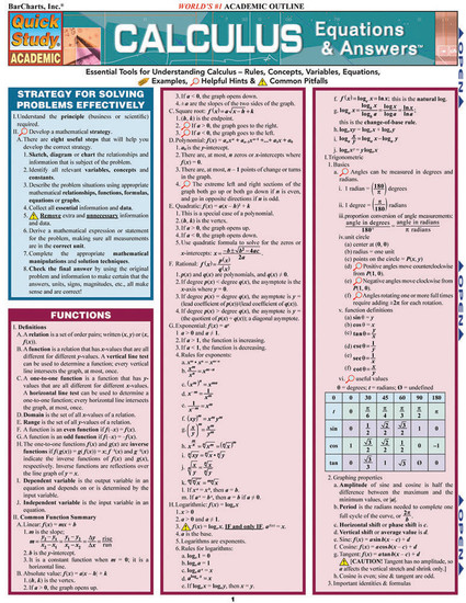 QuickStudy Quick Study Calculus Equations & Answers Laminated Study Guide BarCharts Publishing Math Cover Image