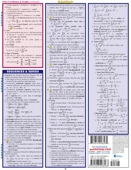 QuickStudy Quick Study Calculus Equations & Answers Laminated Study Guide BarCharts Publishing Math Back Image