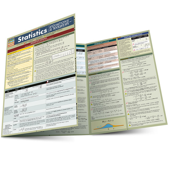 Quick Study QuickStudy Statistics Equations & Answers Laminated Study Guide BarCharts Publishing Main Image