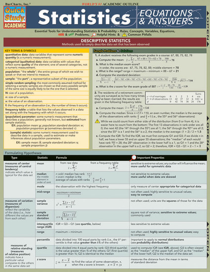 Quick Study QuickStudy Statistics Equations & Answers Laminated Study Guide BarCharts Publishing Cover Image