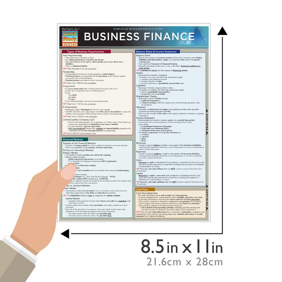 Quick Study QuickStudy Business Finance Laminated Study Guide BarCharts Publishing Business Guide Size