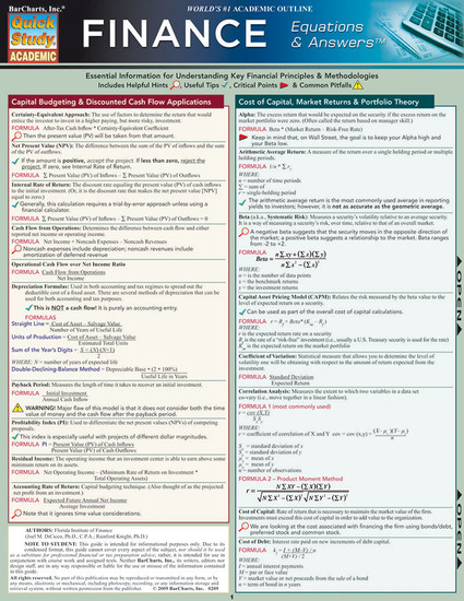 QuickStudy | Finance: Equations & Answers Laminated Study Guide