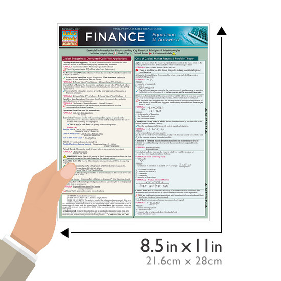 Quick Study QuickStudy Finance Equations & Answers Laminated Study Guide BarCharts Publishing Size