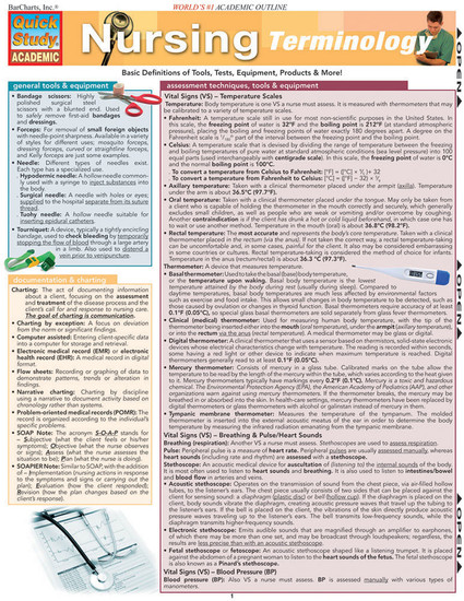 Quick Study QuickStudy Nursing Terminology Laminated Study Guide BarCharts Publishing Medical Guide Cover Image