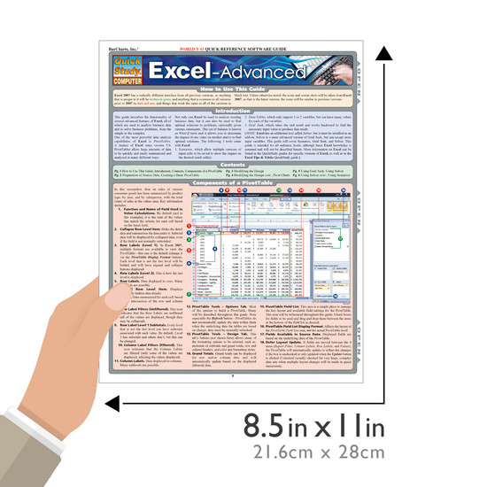 Quick Study QuickStudy Excel Advanced Laminated Reference Guide BarCharts Publishing Business Software Reference Guide Size
