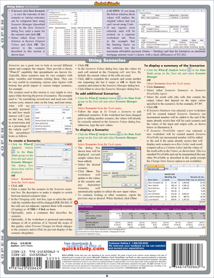 Quick Study QuickStudy Excel Advanced Laminated Reference Guide BarCharts Publishing Business Software Reference Back Image