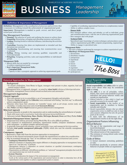 Quick Study QuickStudy Business Management Leadership Laminated Reference Guide BarCharts Publishing Cover Image