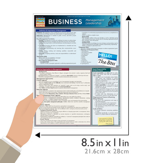 Quick Study QuickStudy Business Management Leadership Laminated Reference Guide BarCharts Publishing Guide Size