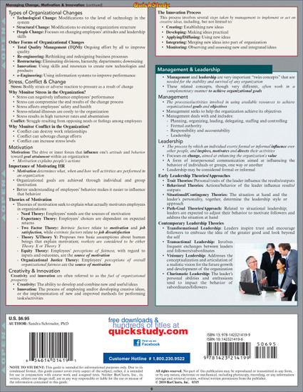 Quick Study QuickStudy Business Management Leadership Laminated Reference Guide BarCharts Publishing Back Image