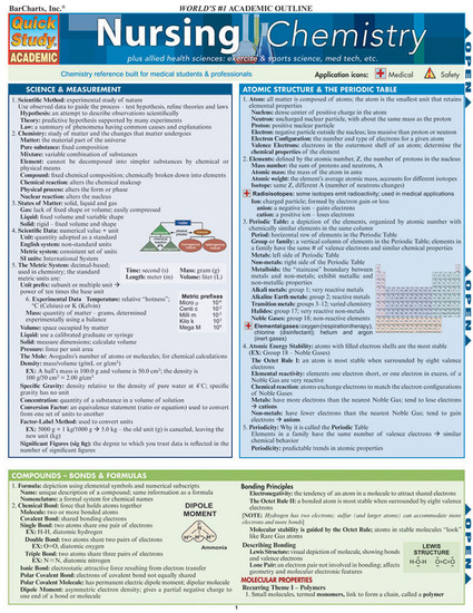 Quick Study QuickStudy Nursing Chemistry Laminated Study Guide BarCharts Publishing Chemistry Academic Medical Reference Guide Cover Image