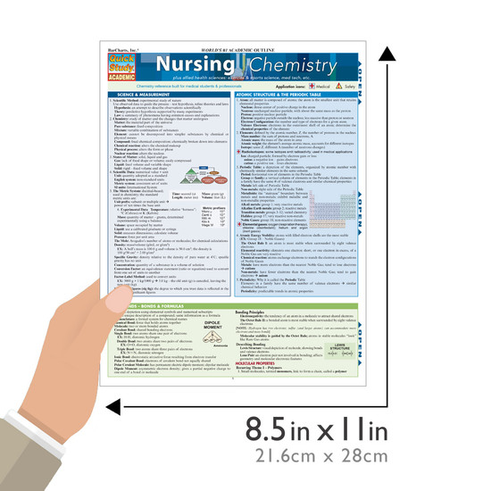 Quick Study QuickStudy Nursing Chemistry Laminated Study Guide BarCharts Publishing Chemistry Academic Medical Reference Guide Size