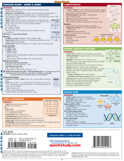 Quick Study QuickStudy Nursing Chemistry Laminated Study Guide BarCharts Publishing Chemistry Academic Medical Reference Guide Back Image