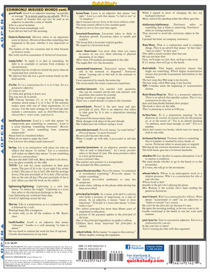 Quick Study QuickStudy Common Grammar Pitfalls & Mistakes Laminated Study Guide BarCharts Publishing Back Page Image