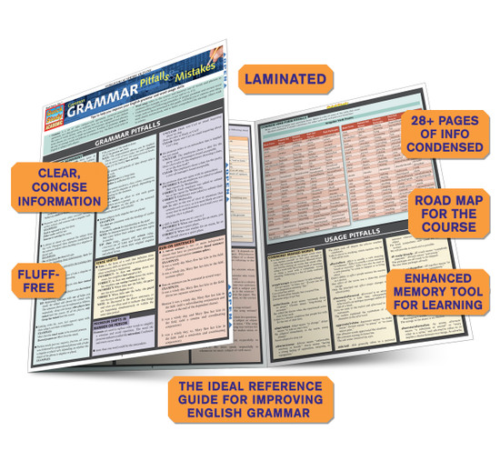 Quick Study QuickStudy Common Grammar Pitfalls & Mistakes Laminated Study Guide BarCharts Publishing Guide Benefits