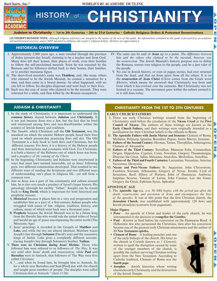 Quick Study QuickStudy History of Christianity Laminated Study Guide BarCharts Publishing Inc Guide Cover Image