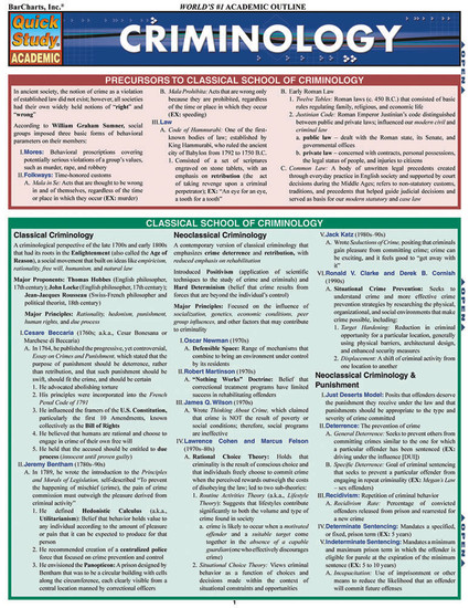 Quick Study QuickStudy Criminology Laminated Reference Guide BarCharts Publishing Academic Legal Education Cover Image