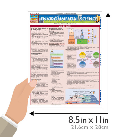Quick Study QuickStudy Environmental Science Laminated Study Guide BarCharts Publishing Science Reference Guide Size
