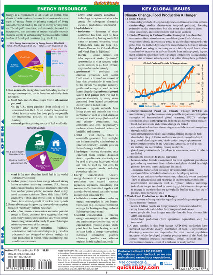 Quick Study QuickStudy Environmental Science Laminated Study Guide BarCharts Publishing Science Reference Back Image