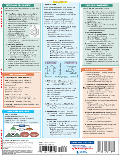 Quick Study QuickStudy Inorganic Chemistry Laminated Study Guide BarCharts Publishing Science Guide Back Image