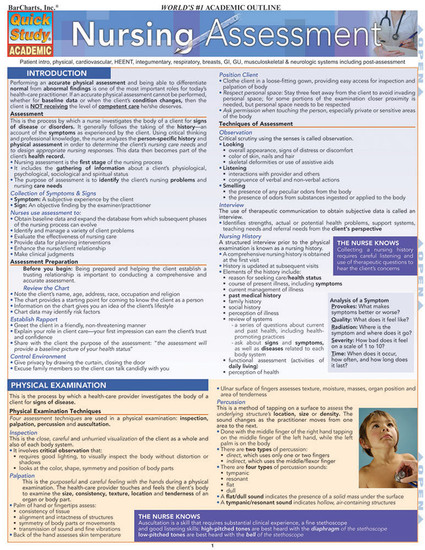 QuickStudy Quick Study Nursing Assessment Laminated Study Guide BarCharts Publishing Medical Studies Cover Image